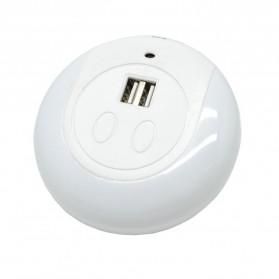 Lampu Tidur LED Sensor Cahaya dengan 2 Port USB - White