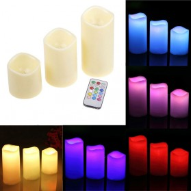 Lilin LED RGB dengan Remote 3 PCS - WY-006 - White