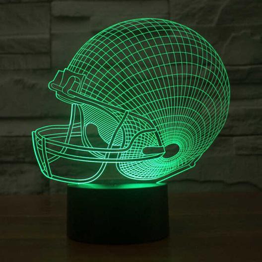 ... Lampu 3D LED Transparan 7 Color Design Rugby Cap - Multi-Color - 1 ...