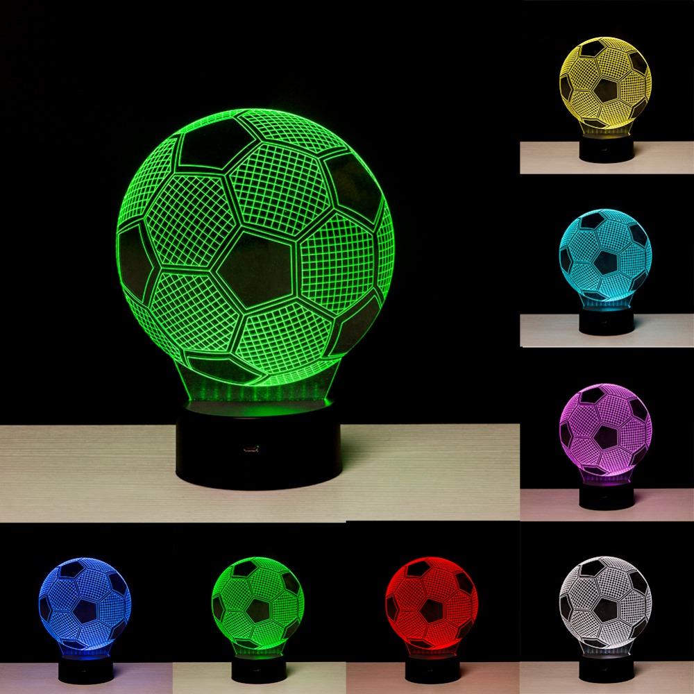 ... Lampu 3D LED Transparan 7 Color Design Football - Multi-Color - 1 ...