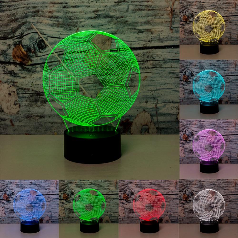 ... Lampu 3D LED Transparan 7 Color Design Football - Multi-Color - 2 ...