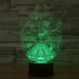 Lampu 3D LED Transparan 7 Color Design Millennium Falcon - Multi-Color