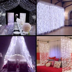 TaffLED Lampu Gorden Dekorasi Wedding Fairy Light 3x3Meter 300 LED - 300L - White - 2