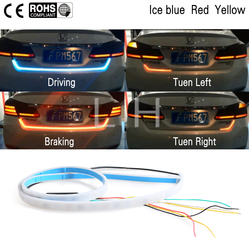 Universal Car Ashtray Holder Led Light Asbak Rokok Mobil Daftar Mini Strip Lampu Driving Signal Break Left Right Turn 120cm Blue