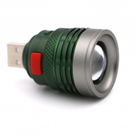 Senter LED USB Zoomable Mini Handy Flashlight 800 Lumens - Army Green - 1