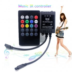 Sensor Suara Sound Music Control Lampu LED Strip dengan Remote Control - Black