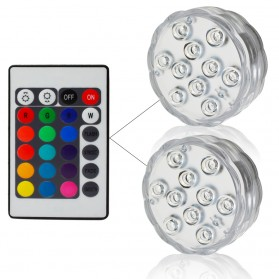 Lampu LED Underwater Submersible Waterproof 2 PCS with Remote Control - 13017 - White - 1
