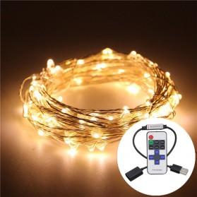 Lampu Hias Dekorasi USB Powered 50 LED 5 Meter with Remote Control - Warm White