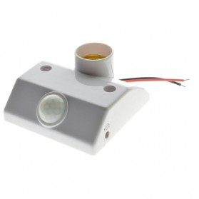 Fitting Lampu Bohlam Socket E27 dengan Infrared Motion Sensor - White