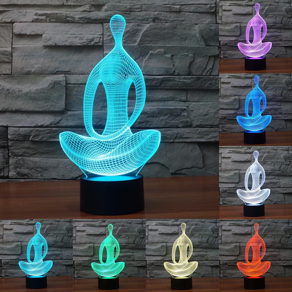 ... Lampu 3D LED Transparan 7 Color Design Yoga - Multi-Color - 1 ...