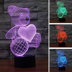 Lampu 3D LED Transparan 7 Color Design Teddy Bear - Multi-Color