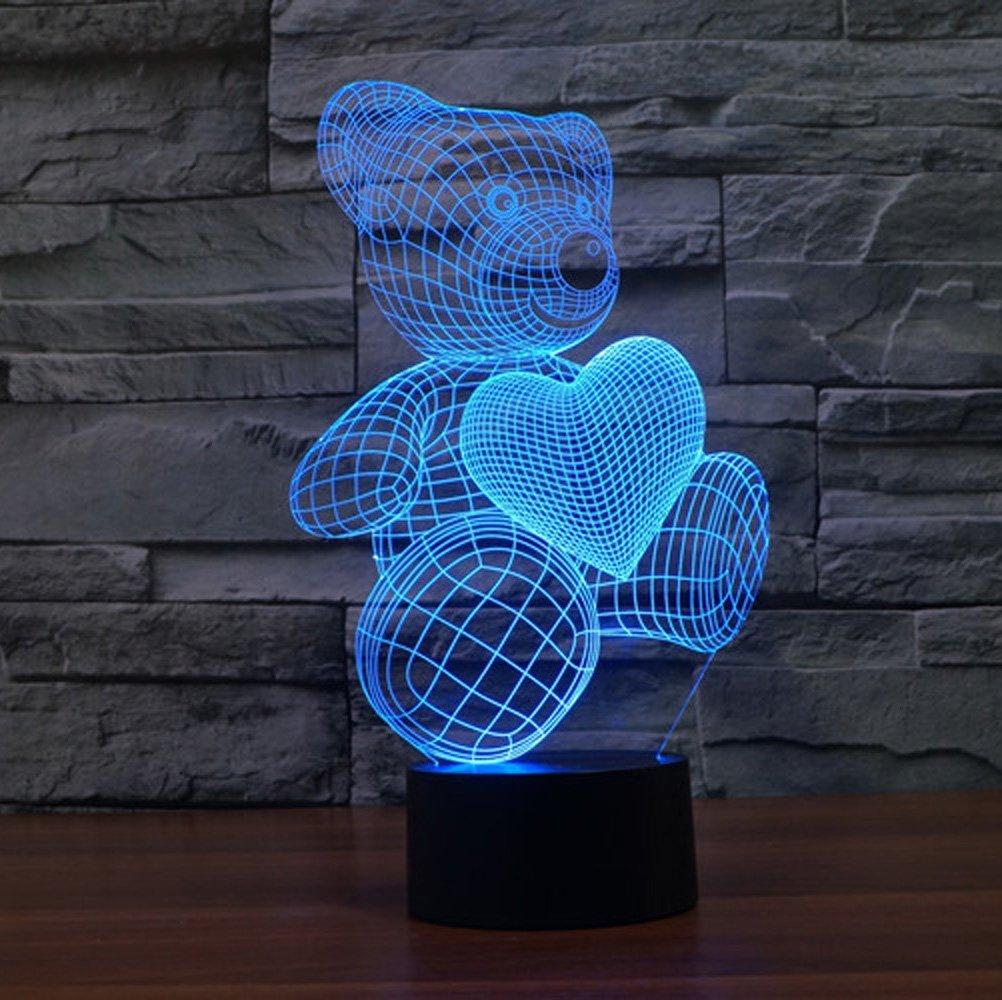 ... Lampu 3D LED Transparan 7 Color Design Teddy Bear - Multi-Color - 3 ...