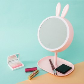 Cermin Makeup dengan Lampu LED Ring Light Model Rabbit - Pink