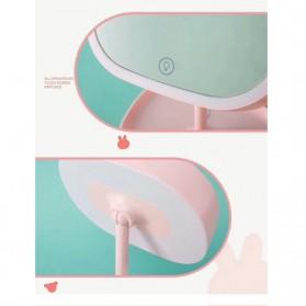 Cermin Makeup dengan Lampu LED Ring Light Model Rabbit - Pink - 2