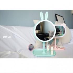 Cermin Makeup dengan Lampu LED Ring Light Model Rabbit - Pink - 5