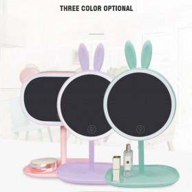 Cermin Makeup dengan Lampu LED Ring Light Model Rabbit - Pink - 6
