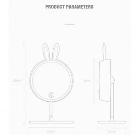 Cermin Makeup dengan Lampu LED Ring Light Model Rabbit - Pink - 7
