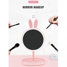 Cermin Makeup dengan Lampu LED Ring Light Model Rabbit - Pink - 10