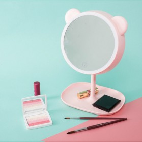 Aksesoris Makeup - Cermin Makeup dengan Lampu LED Ring Light Model Bear - Pink
