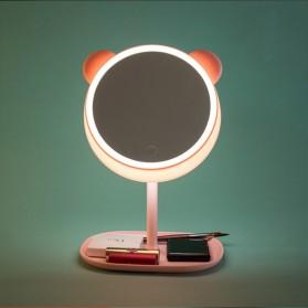 Cermin Makeup dengan Lampu LED Ring Light Model Bear - Pink - 4