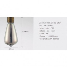 YNL Lampu Bohlam LED Dekorasi Fireworks 3D E27 220V 4W - ST64 - Mix Color - 2