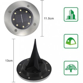 TaffLED Lampu Tanam LED Solar Outdoor 8 LED Waterproof - CL-022 - White - 8