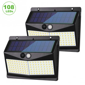 SINJIAlight Lampu Solar Panel Sensor Gerak Outdoor Waterproof 108 LED Warm White 1 PCS - SJ025 - Black