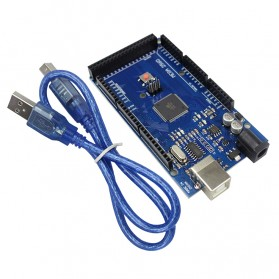 Peripheral Parts LAN Card, Sound Card, PCI Card, PCMCIA Card, Express Card - Arduino Mega 2560 Rev3 Mainboard with USB Cable - ATmega2560-16AU - Blue