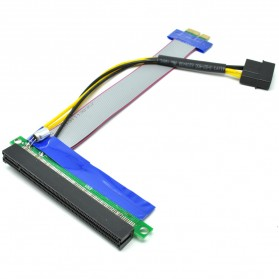 Kabel Ekstensi PCI-E 1x ke 16x dengan Konektor Power Molex for Bitcoin Miner