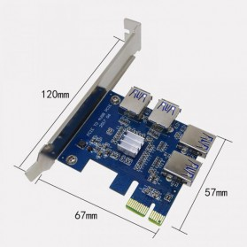 PCI-E Expansion Card Riser to 4 USB 3.0 for Bitcoin Miner EM88 - 4