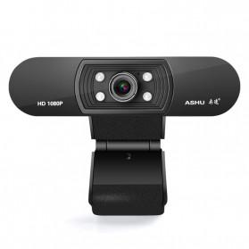 ASHU HD Webcam Desktop PC Laptop Video Conference 1080P with Microphone - H800 - Black