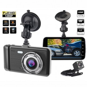 Baco Car DVR Kamera Mobil 1296P with Rear View Camera - GT500 - Black