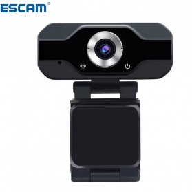Webcam Komputer - ESCAM HD Webcam Desktop Laptop with Microphone Video Conference 2MP 1080P - PVR006 - Black