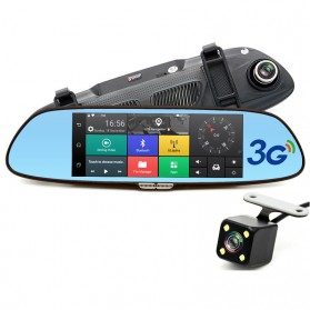 Kaca Spion DVR Dual Kamera 1080P 7 Inch Display dengan 3G Network - Black