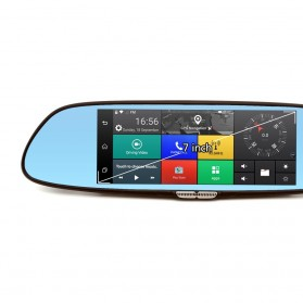 Kaca Spion DVR Dual Kamera 1080P 7 Inch Display dengan 3G Network - Black - 3