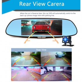 Kaca Spion DVR Dual Kamera 1080P 7 Inch Display dengan 3G Network - Black - 6
