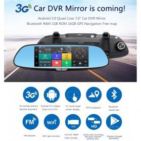 Kaca Spion DVR Dual Kamera 1080P 7 Inch Display dengan 3G Network - Black - 8