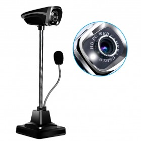 Webcam Komputer - USB Wired Webcam 12MP with Microphone - M800 - Black