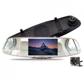 Kaca Spion Rear View DVR Dual Kamera 1080P 5 Inch Display - J001 - Black