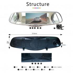 Kaca Spion Rear View DVR Dual Kamera 1080P 5 Inch Display - J001 - Black - 2