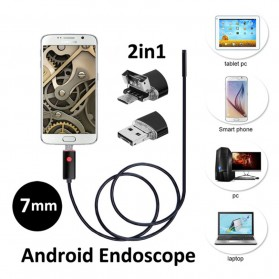 Kamera Endoscope OTG Waterproof HD 7mm 480P 2M - AN98A - Black