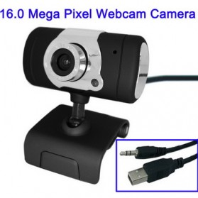 USB 16.0 Mega Pixels Driverless PC Camera with Mic and 360 degree - Black