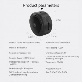 SHZONS Mini WiFi IP Camera TF Card Slot Night Vision Motion Detect 1080P - W-10 - Black - 9