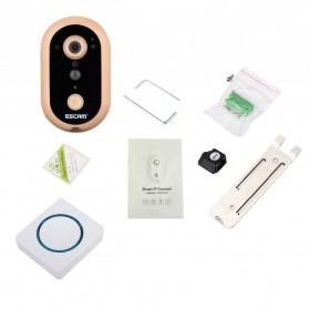 ESCAM Doorbell QF600 WiFi Mini IP Camera Surveillance CCTV 720P - Golden - 4