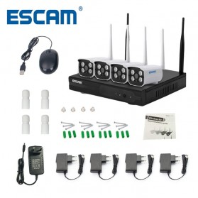 ESCAM Wireless NVR Kit HD 4Ch with 4 CCTV 720P - WNK403 - Black - 1