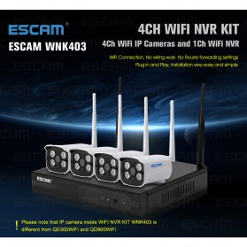 ESCAM Wireless NVR Kit HD 4Ch with 4 CCTV 720P - WNK403 - Black - 5