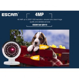 ESCAM Bolt QD410 IR Bullet IP Camera P2P Night Vision H.265 4MP 1520P FHD - White - 9