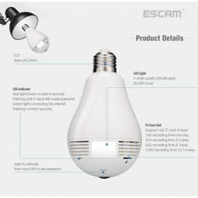 Escam Watt QP135 Bulb WiFi IP Camera 960P - White - 6