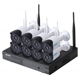 ESCAM Wireless NVR Kit HD 8Ch with 8 CCTV 720P - WNK804 - Black