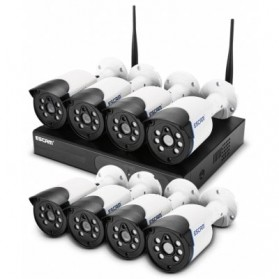 ESCAM Wireless NVR Kit HD 8Ch with 8 CCTV 720P - WNK804 - Black - 2
